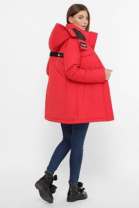 Красная зимняя женская куртка на пухе, размер от S до 2XL, фото 2