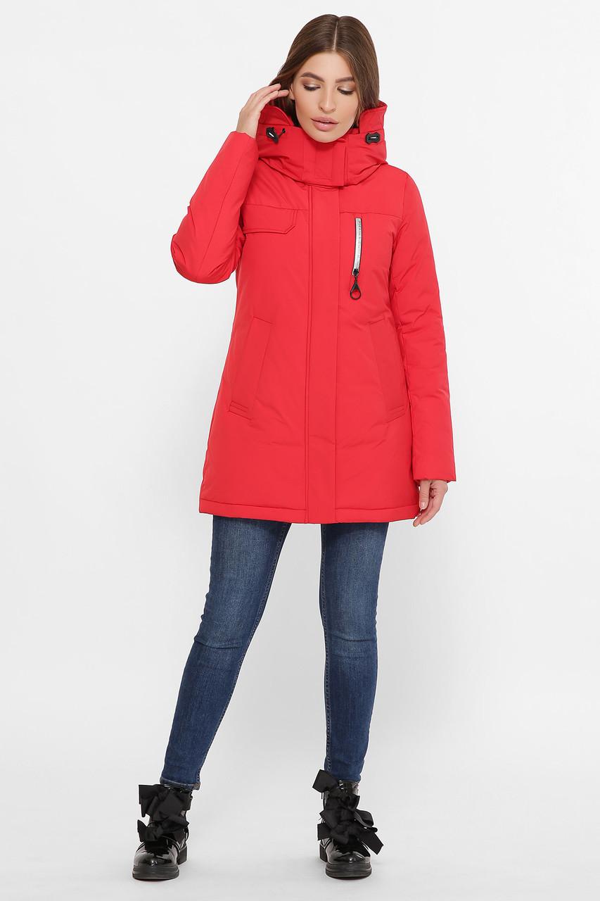 Красная зимняя женская куртка на пухе, размер от S до 2XL