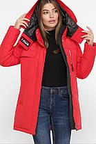 Червона зимова жіноча куртка на пуха, розмір від S до 2XL, фото 3