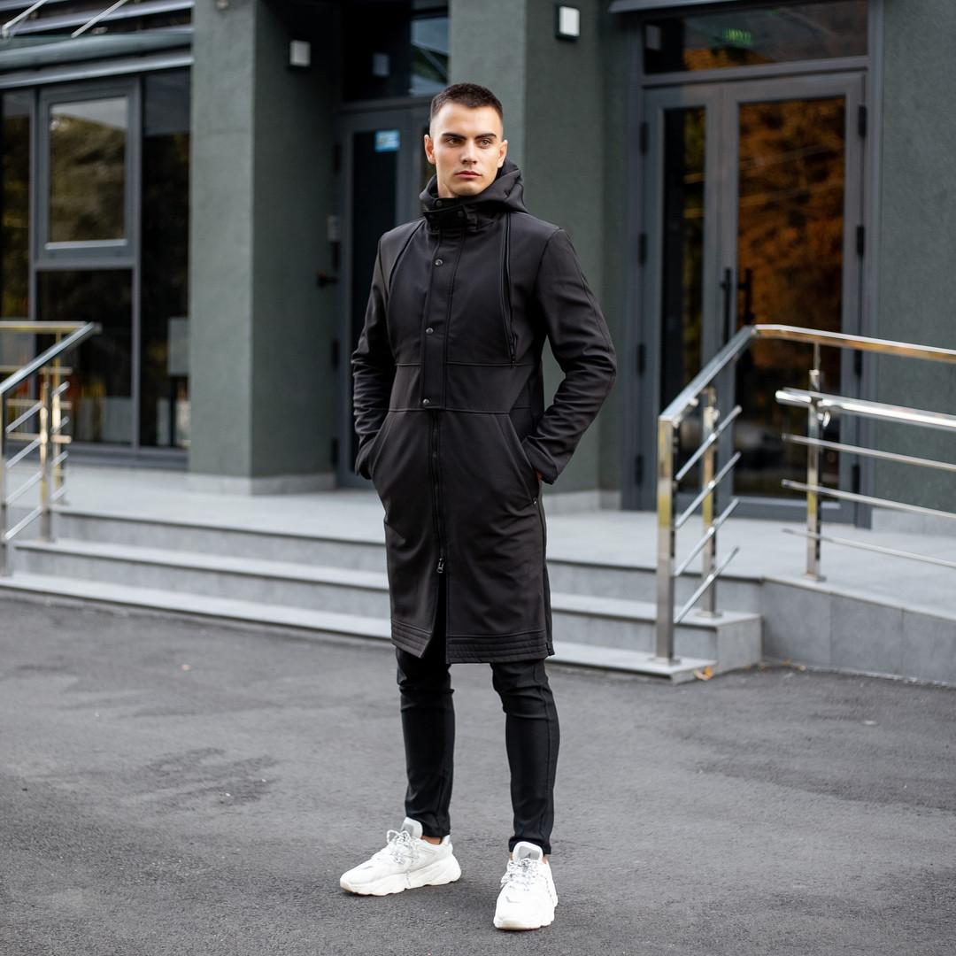 Мужская длинная черная куртка ветровка осень/весна с капюшоном. Мужское пальто черное