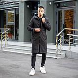 Мужская длинная черная куртка ветровка осень/весна с капюшоном. Мужское пальто черное, фото 2