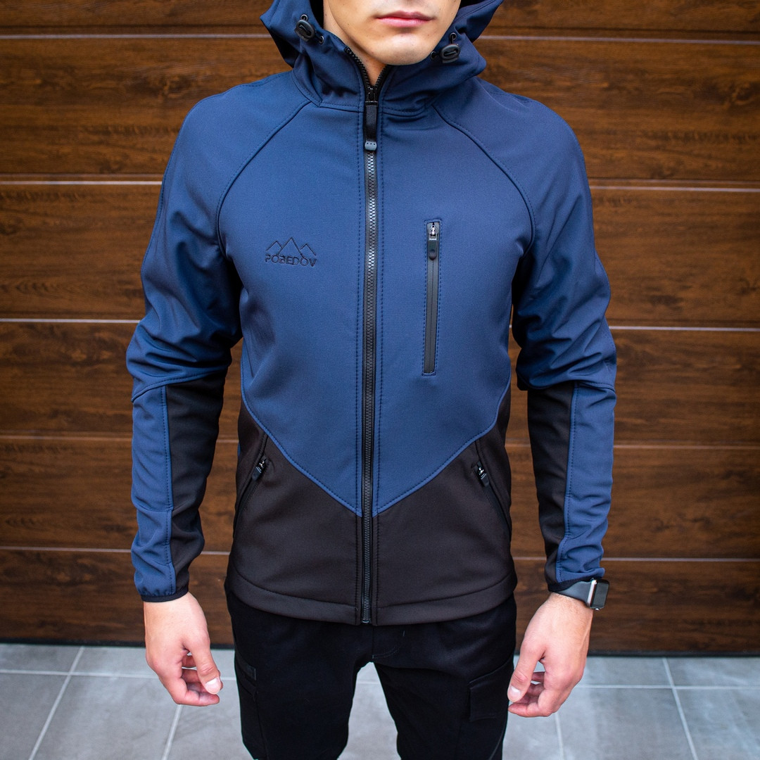 Pobedov Мужская удлененая ветровка куртка синяя с капюшоном демисезонная.Мужская плащевка спорт куртка синяя