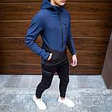 Pobedov Мужская удлененая ветровка куртка синяя с капюшоном демисезонная.Мужская плащевка спорт куртка синяя, фото 2