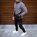 Pobedov Мужская удлененая ветровка куртка синяя с капюшоном демисезонная.Мужская плащевка спорт куртка синяя, фото 6