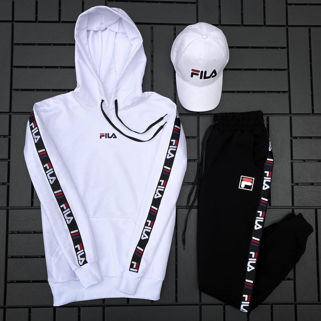 Fila Мужской белый спортивный костюм демисезонный с капюшоном.Fila Кенгуру + штаны Fila + кепка Fila.Комплект