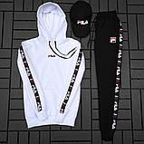 Fila Мужской белый спортивный костюм демисезонный с капюшоном.Fila Кенгуру + штаны Fila + кепка Fila.Комплект, фото 2
