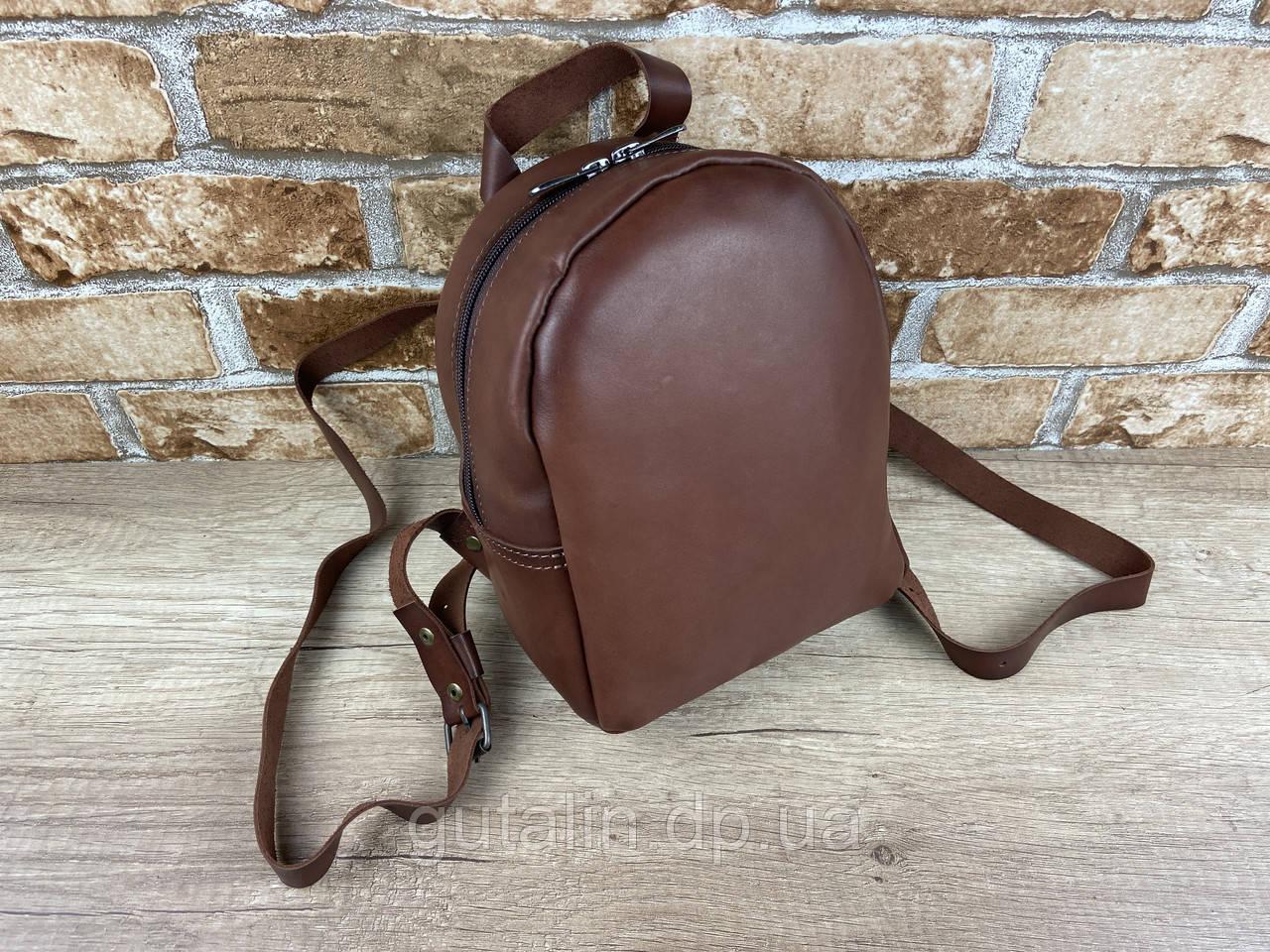 Женский рюкзак Мини ручной работы из натуральной кожи цвет светло коричневый