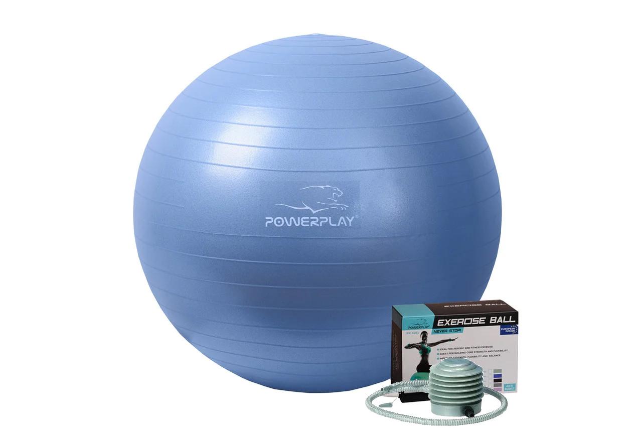 Мяч для фитнеса и гимнастики PowerPlay 4001 65см синий + насос
