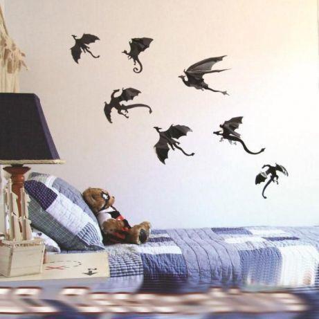 Драконы на стену 3D эффект (набор 7 шт) ABC Хэллоуин