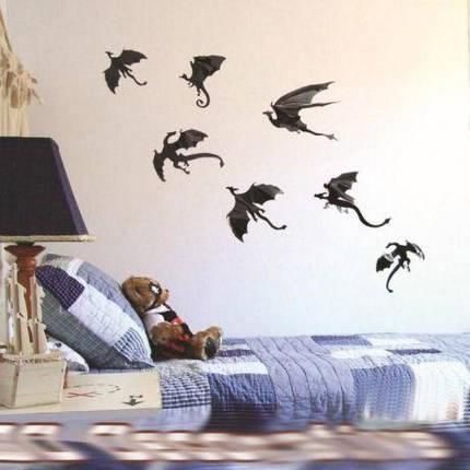 Драконы на стену 3D эффект (набор 7 шт) ABC Хэллоуин, фото 2