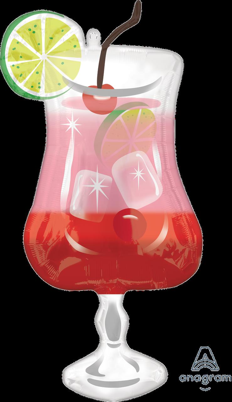 """A 37"""" Happy Hour Gin Fizz. Фольгированный шар фигура Бокал с джином Счастливые часы"""