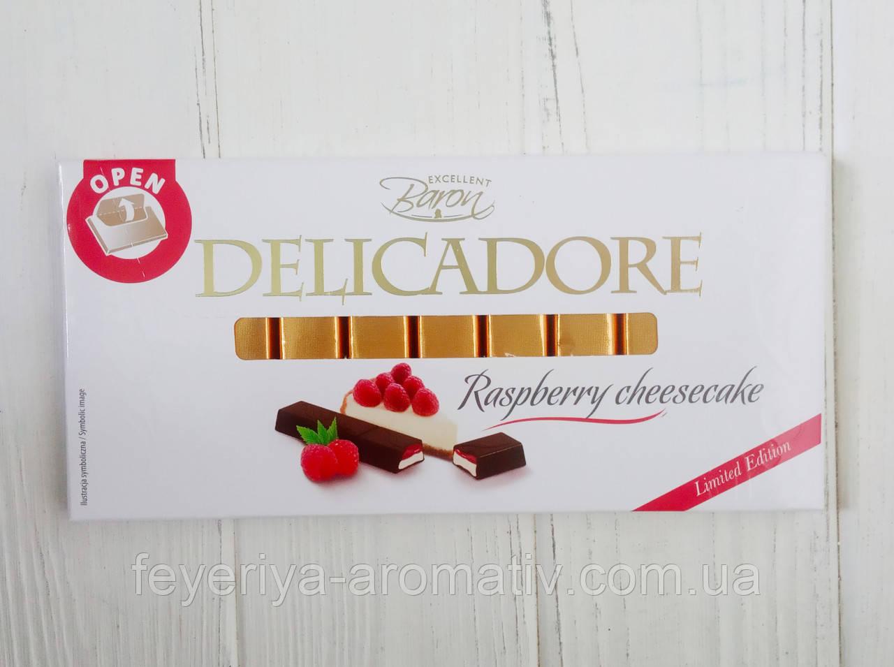 Шоколад черный DelicaDore Raspberry cheesecake 200гр. (Польша)
