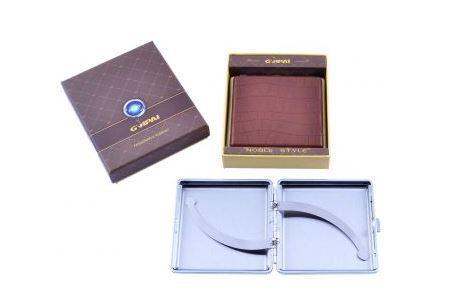 Портсигар в подарочной упаковке GVIPAI (Кожа, на 20 шт) №XT-4980-7