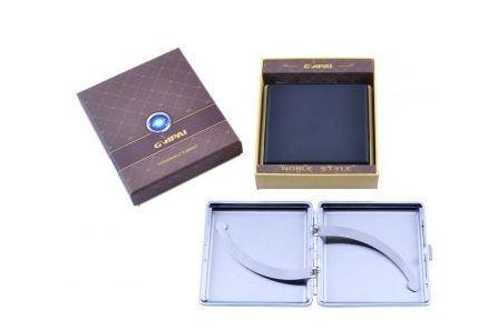 Портсигар в подарочной упаковке GVIPAI (Кожа, на 20 шт) №XT-4980-2