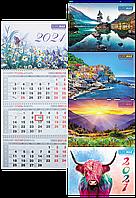 Календарь настенный квартальный Buromax 297 х 630 мм на 2021 год 3 пружины