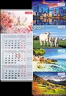 Календарь настенный квартальный Buromax 297 х 630 мм на 2021 год 1 пружина