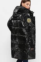 Дутая женская зимняя куртка с жёлтой подкладкой,  цвет глянцевый чёрный,  размер от 44 до 54, фото 3