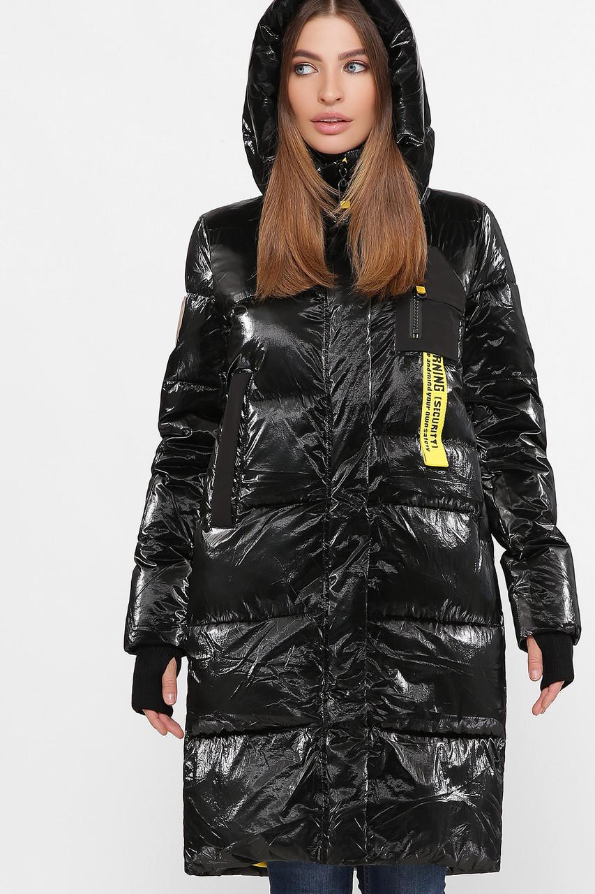 Дутая женская зимняя куртка с жёлтой подкладкой,  цвет глянцевый чёрный,  размер от 44 до 54