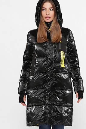 Дутая женская зимняя куртка с жёлтой подкладкой,  цвет глянцевый чёрный,  размер от 44 до 54, фото 2