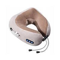 Массажная подушка для шеи U Shaped Massage Pillow Brown Массажер подкова ИК подогрев вибрация массаж роликовая