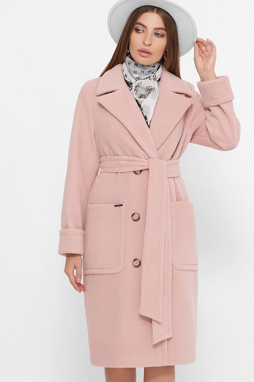 Красиве жіноче пальто з вовни, прямого силуету мерехтливої кольору, розмір від 42 до 54