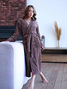 Халат женский махровый длинный Коричневый (Турция)