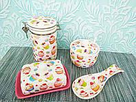 Набор кухонный сахарница,емкость для сыпучих, масленка,подставка для ложек | Контейнер банка сыпучих |