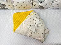Плед-конверт плюшевый на выписку для новорожденных