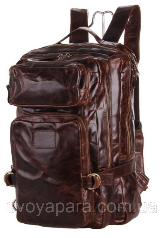 Рюкзак трансформер 2 в 1 кожаный Vintage 20207 Коричневый