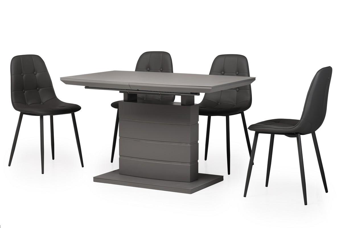 Стол обеденный  МДФ+матовое стекло TMM-50-1 серый, раскладной