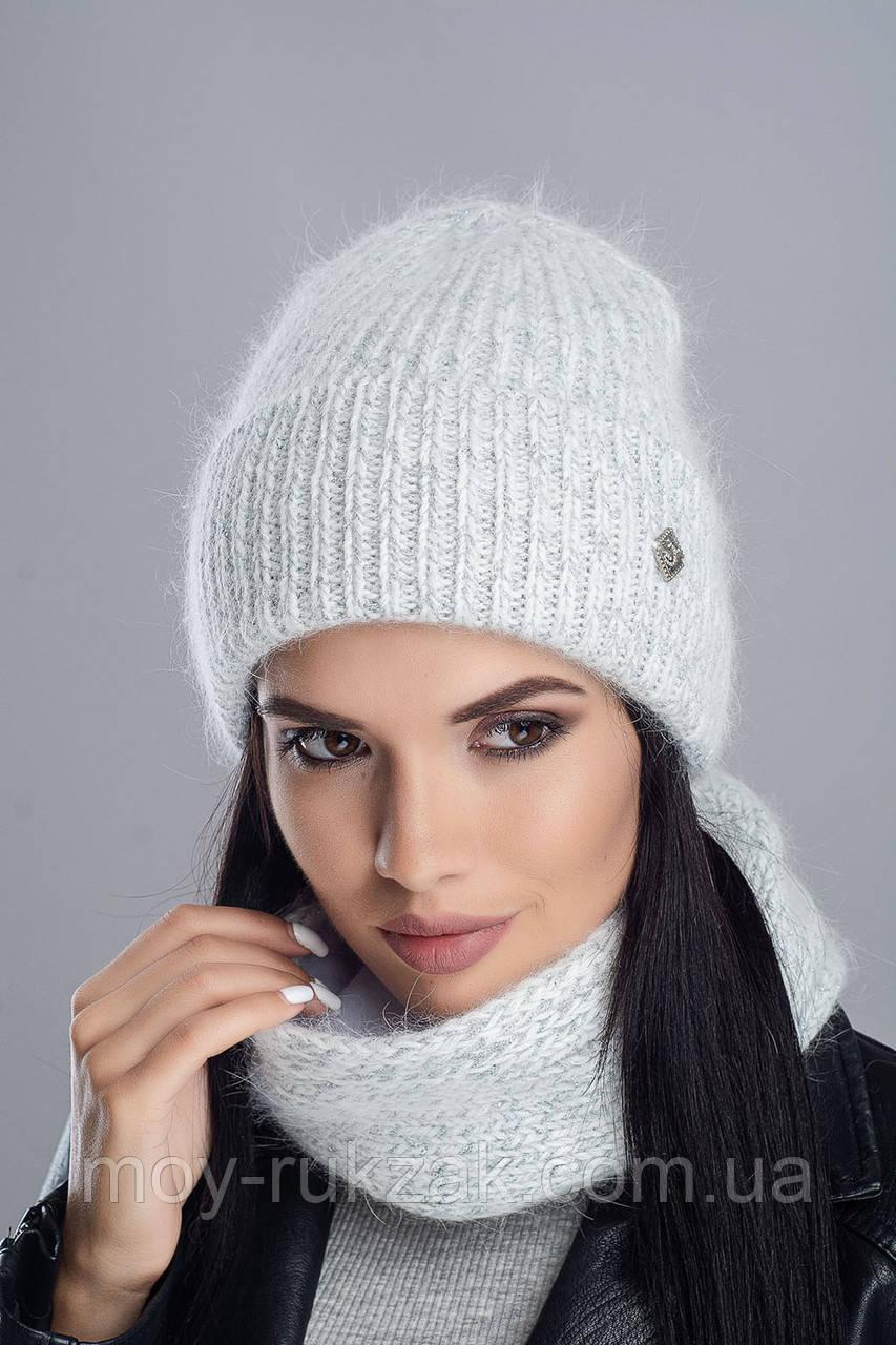 """Комплект вязаный женский """"Брют"""" светло-серый 907056-10"""