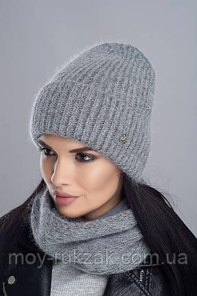 """Комплект вязаный женский """"Брют"""" средне-серый 907056-13, фото 2"""