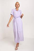 Лавандовое платье макси длины в белый горошек из ткани супер софт XS, S, M, L