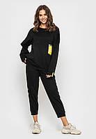 Черный трикотажный спортивный костюм, свитшот и укороченные брюки. Размеры S, M, L, XL.
