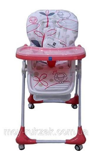 Стульчик для кормления Bambi, ремни безопасности, M3233, розовый