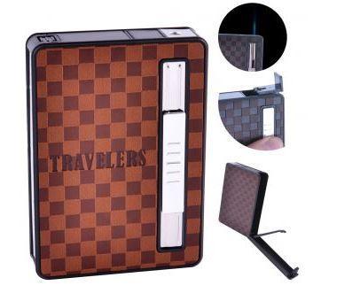 Портсигар + зажигалка на 10 сигарет TRAVELERS (Острое пламя) №HL-155-1