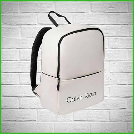 Женский стильный рюкзак Calvin Klein, кельвин. Белый. Кожзам, фото 2
