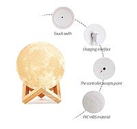 Ночник в виде Луны 3D Moon Light 13 см диаметр, сенсорный, 5 режимов