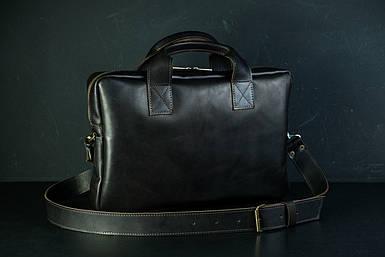 Шкіряна чоловіча сумка Стівен, натуральна шкіра італійський Краст колір Кави