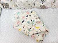 Плед-конверт для новорожденных деток хлопковый с рисунком