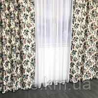 Готові штори з квітковим принтом 150x270 cm (2 шт) ALBO Сині (SH-631 - 1), фото 3