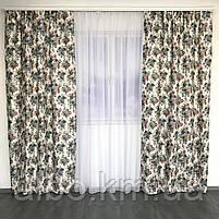 Готові штори для залу кухні кімнати, штори з квітами для кухні спальні кімнати квартири, штори з атласу в дитячу кімнату кабінет,, фото 2