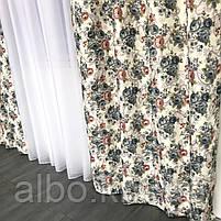 Готові штори з квітковим принтом 150x270 cm (2 шт) ALBO Сині (SH-631 - 1), фото 6