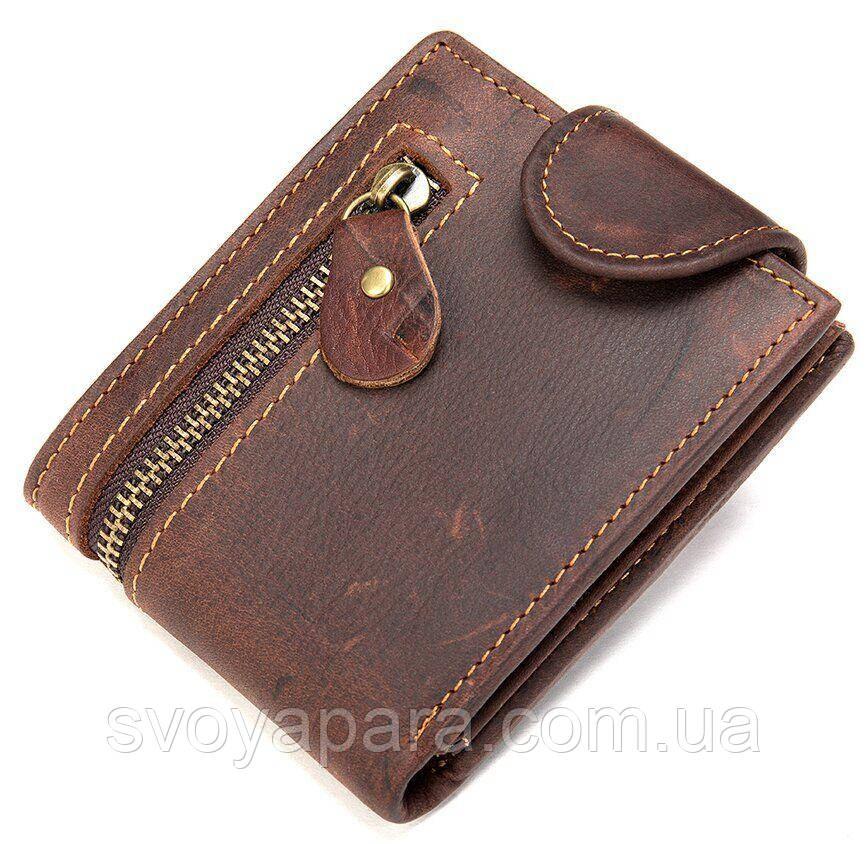 Тонкое мужское портмоне матовое 20239 Vintage Коричневое