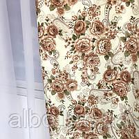 Готові штори з квітковим принтом 150x270 cm (2 шт) ALBO Кавові (SH-631-3), фото 3