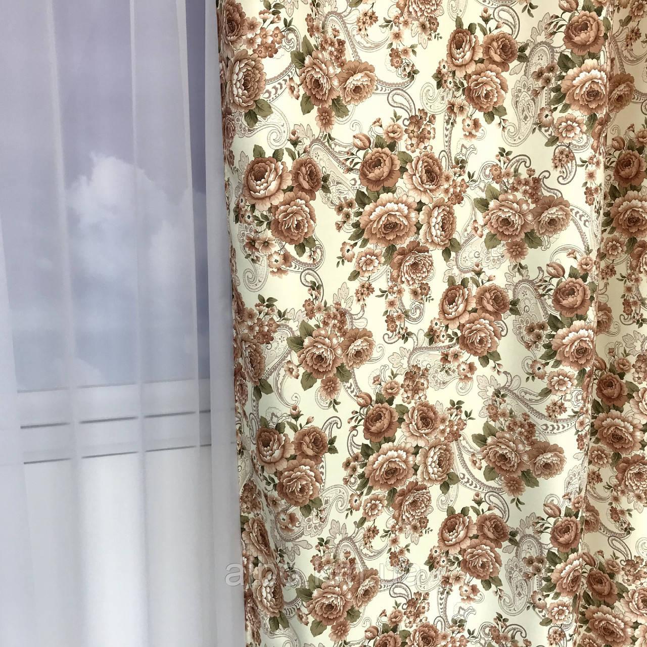 Готові штори з квітковим принтом 150x270 cm (2 шт) ALBO Кавові (SH-631-3)