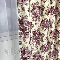 Комплект штор с цветочным принтом  150x270 cm (2 шт) ALBO Фиолетовые (SH-631-7), фото 4