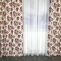 Комплект штор с цветочным принтом  150x270 cm (2 шт) ALBO Фиолетовые (SH-631-7), фото 3