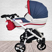 """Всесезонная детская коляска для новорожденных 2 в 1 универсальная """"MACAN"""" Blue-red"""