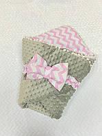Плед-конверт на выписку для новорожденных деток с плюшем